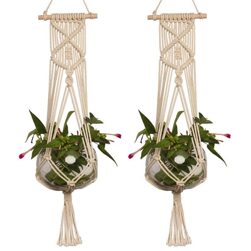 Image 3 - Straw Macrame Plant Hanger Flower Pot Garden Holder Legs Hanging Rope Basket Household Garden Decoration Dropshipping-in Hanging Baskets from Home & Garden