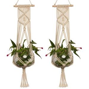 Image 3 - Straw Macrame Plant Hanger Flower Pot Garden Holder Legs Hanging Rope Basket Household Garden Decoration Dropshipping