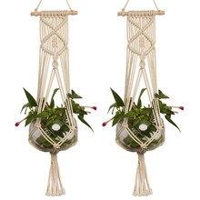 Straw Macrame Plant Hanger Flower Pot Garden Holder Legs Hanging Rope Basket Household Decoration