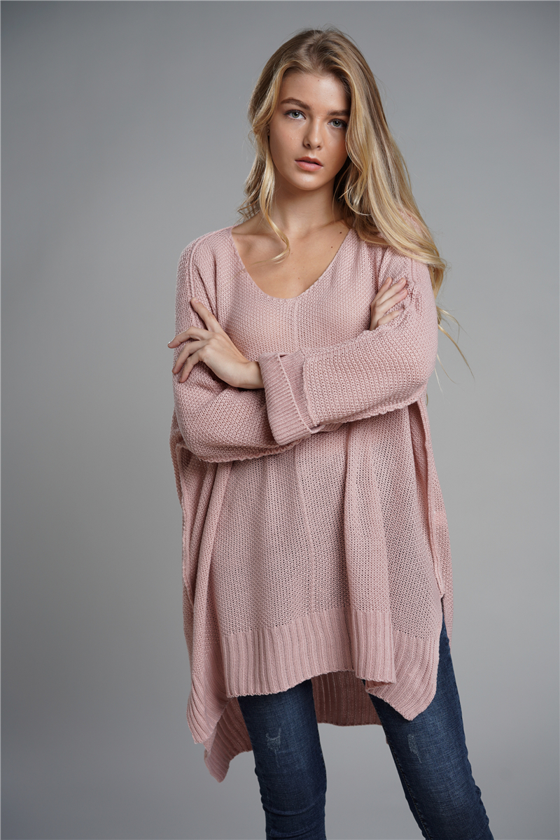 Oversized Batwing Sleeve Lady's Sweater, Knitwear V Neck, Long Pullover 12