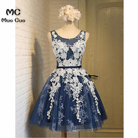 2018 Navy Blue A line Homecoming Dresses Short Scoop Appliques Lace Scoop Tulle Lace Up Back Homecoming Cocktail Party Dresses