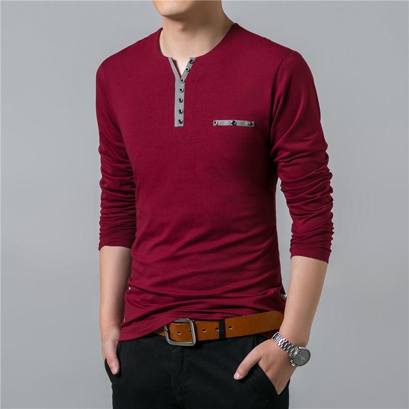 HTB139MnF7CWBuNjy0Faq6xUlXXaS - COODRONY Cotton T Shirt Men 2018 Spring Autumn New Long Sleeve T-Shirt Men Henry Collar Tee Shirt Men Fashion Casual Tops 7617
