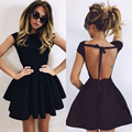 Black A-Line Satin Cocktail Dresses 2017 Sexy Scoop Cap Sleeves Backless Mini Prom Dresses Backless Party Dresses Custom Made