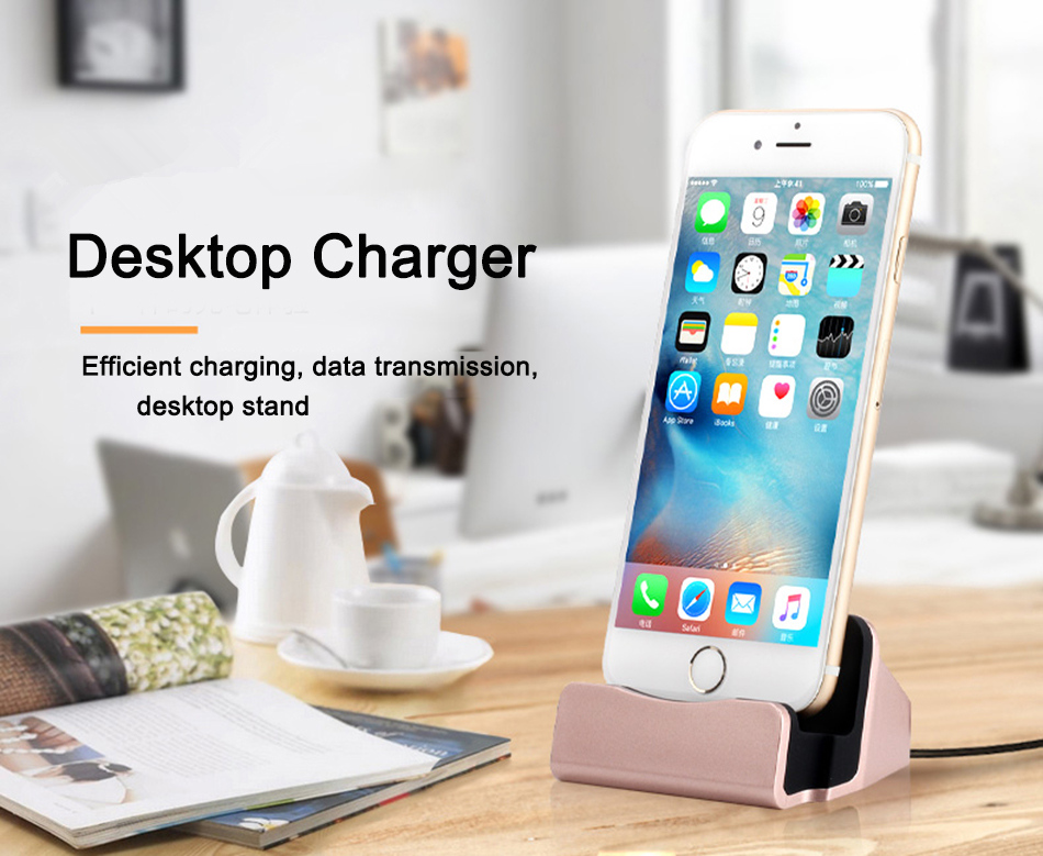 OLAF Mobile Phone Charging Dock Station Desktop Docking Charger Sync Data  USB Cable For iPhone 5 6 7 plus Samsung Xiaomi Android