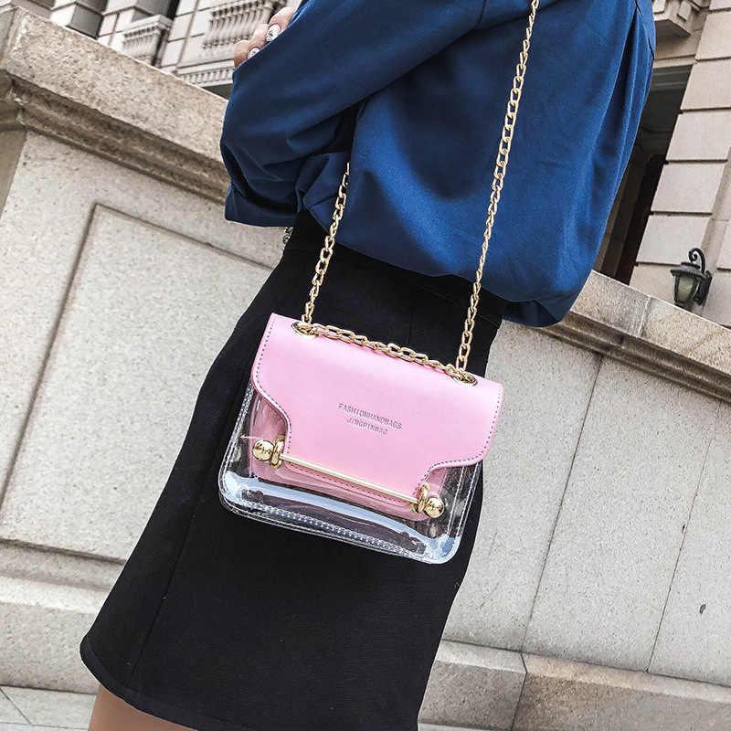 Miyahouse PVC Transparente Saco de Ombro Das Mulheres Com Corrente Patchwork Feminino Saco Da Forma Saco de Geléia Transparente Saco Pequeno Saco de Viagem Para As Meninas