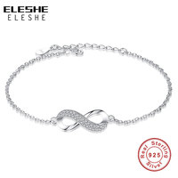 ELESHE Luxury Brand Solid 925 Sterling Silver Infinity Charm Bracelet For Women Link Chain Bracelet Bangle