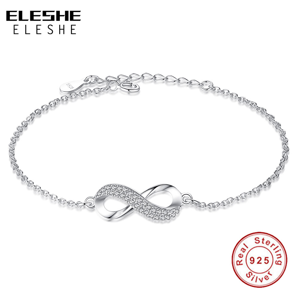 ELESHE Luxury Brand Solid 925 Sterling Sølv Infinity Charm Armbånd for kvinner Link Chain Armbånd Bangle Autentisk Smykker