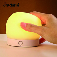 Jiaderui Lovely Silicone LED Night Light USB Rechargeable Touch Sensor Colorful Night Light For Baby Bedroom