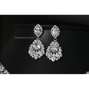 Image 4 - ThreeGraces Top Quality American Bridal Accessories CZ Stone Wedding Costume Necklace and Earrings Jewelry Sets For Brides JS003