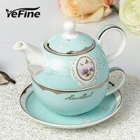 Top Grade Platinum Bone China Teapot And Tea Cup Set European Ceramic Drinkware Kitchen Accessories