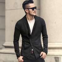 Men washed European style short black suit jacket new design metrosexual man slim burr suit blazer fashion winter outwear