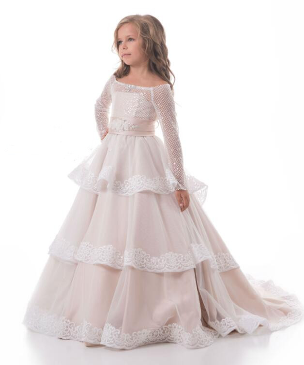 цена New Long Sleeve Flower Girl Dresses for Wedding Off the Shoulder Sequins Layered Communion Gown Pageant Dress 2-16 Years Old