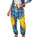 2017 Mujeres Pantalones de Impresión Bohemia Africana Ankara Con Bolsillo de Los Pantalones Pantalones Flojos de La Vendimia China Ropa de Verano Pantalones Harem Ocasional