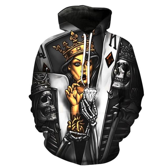 Mens Hoodies 3D Sweatshirt Women Men Ghost Fire Skull Print Hip Hop Pullover Hoody Sweatshirts 2018 Autumn Winter Hooded Top 6XL