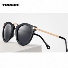 YOOSKE 4 Couleurs Rétro Ronde Femmes lunettes de Soleil Marque Miroir  Femelle Lunettes de Soleil Lunettes Femmes Féminin af5b93f092e2