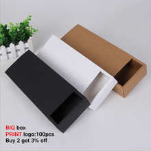 10pcs Large Gift Box Drawer Handmade Cardboard Kraft Packaging Boxes Paper White Black  Packing Custom Geschenkbox