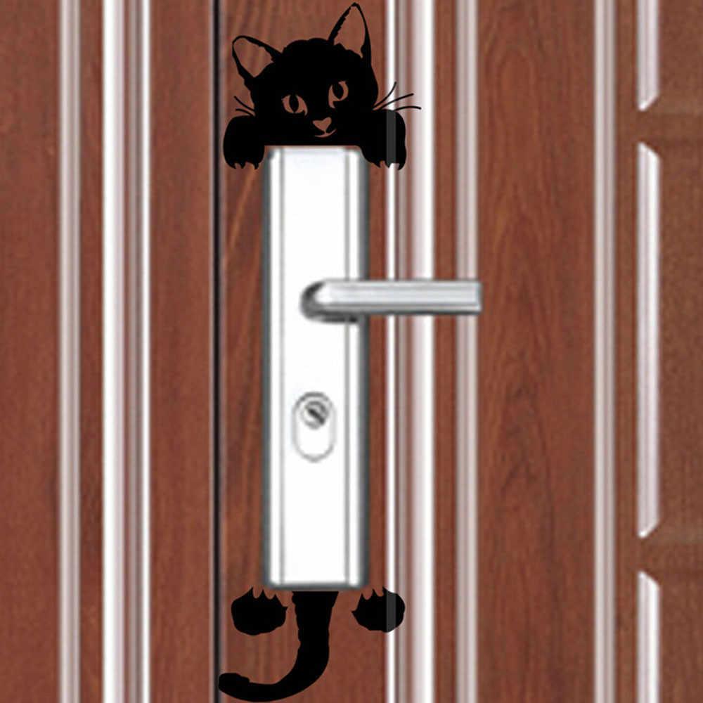 Pegatina de interruptor luminoso de luz negra decoración del hogar pegatinas de pared brillantes de dibujos animados pegatina de decoración de brillo oscuro, Gato lindo creativo