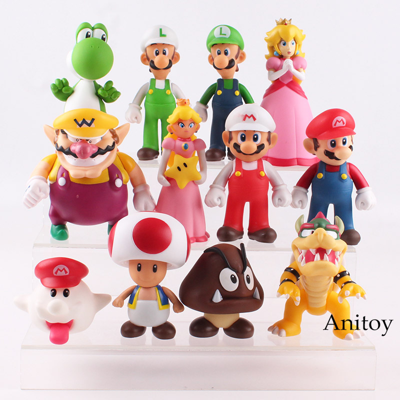 цены Super Mario Bros Luigi Toad Wario Mario Bowser Princess Peach Boo Goomba Yoshi Action Figure Toy for Children 12pcs/set 6-14.5cm