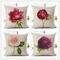 2016 Cushion Rose Flower Printed Throw Pillow Car Home Linen Cotton CushionCover