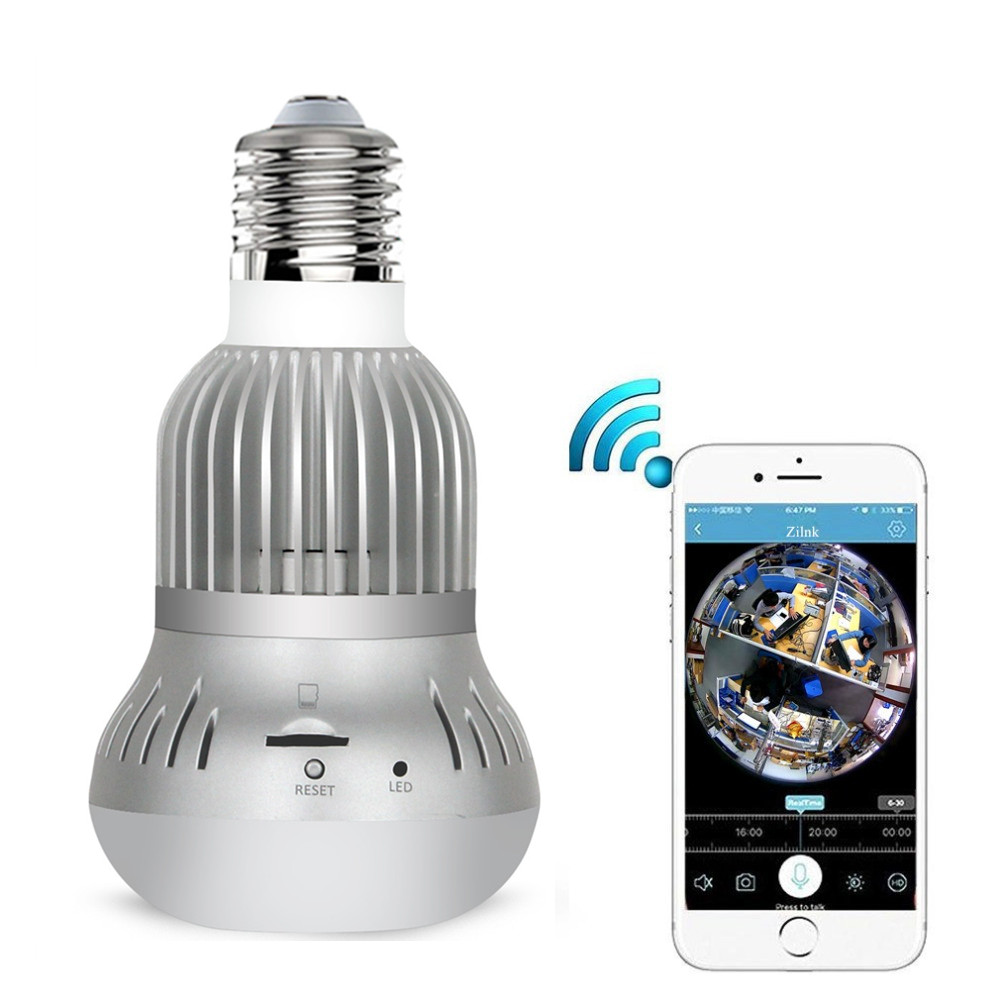 ZILNK 360 Degree Panoramic WIFI Wireless Lamp Camera 1080P HD Bulb FishEye Lens 2MP IP Camera