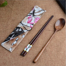Japanese Vintage Wooden Spoon Chopsticks Bamboo Kitchen Cooking Utensil Tools Tableware Portable Tableware fork for kitchen bar(China)