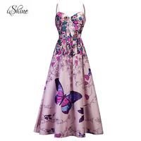 Summer Butterfly Floral Print Sleeveless Beach Maxi Dress Women Spaghetti Strap Off Shoulder Evening Party Dresses