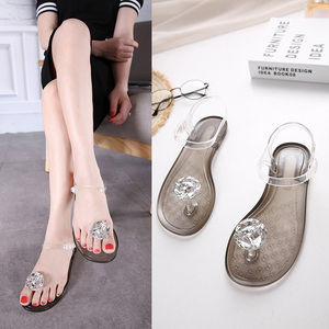 Image 3 - Ms. Summer Transparent  Sandals Rhinestone Flowers sandal Flat with Flip Crystal women slipper Beach Shoes Womens Shoes Simple