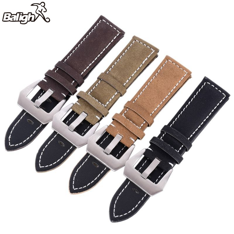 /est / Matte Leather Men Watch Band Women Watches Band Replacement Leather Watch Strap Wristwatch Belt 18-24mm