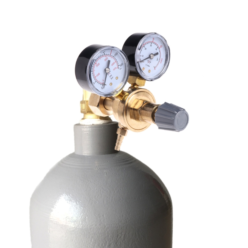Argon CO2 Gauges Pressure Reducer Mig Flow Meter Control Valve Welding Regulator #Aug.26 argon co2 pressure reducer mig flow control valve dual gauge welding regulator mayitr flow meter with safety relief valve