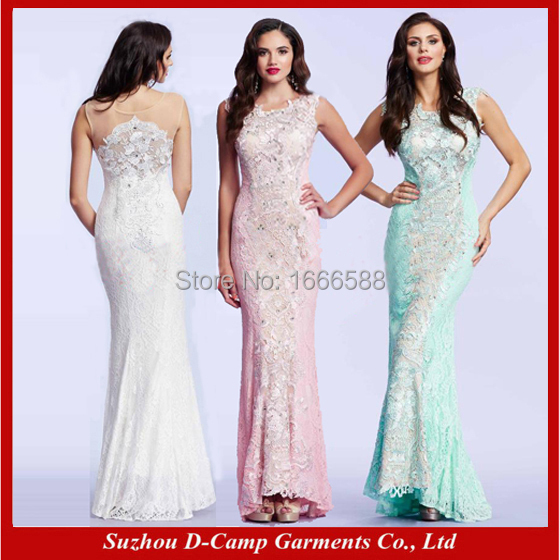 Free Shipping OC 1953 Hairstyle long evening high neck dress of lace ...