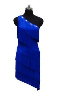 Image 4 - Женское платье для латиноамериканских соревнований, танцевальное платье с одним открытым плечом в европейском стиле, юбка с бахромой для латиноамериканских соревнований, новинка 2021