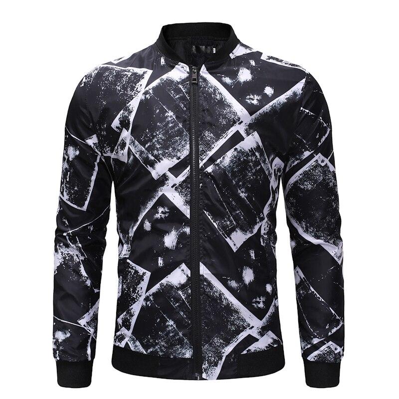 Mode 3d imprimé homme veste automne 2018 nouveau zipper hommes vestes et manteaux à manches longues pilote veste