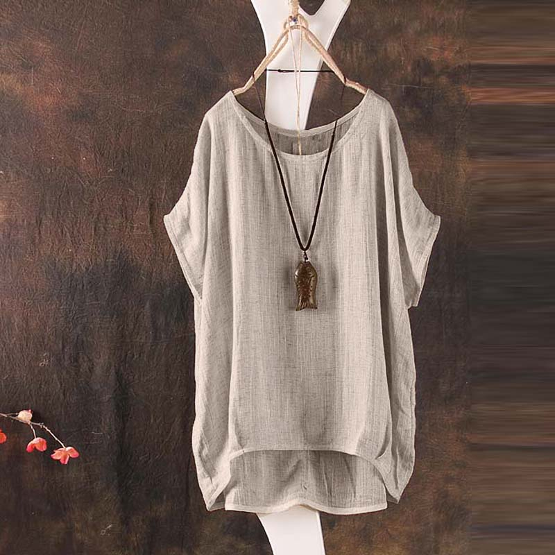 Cotton And Linen Loose Shirt Bat Sleeves Summer Women Solid Color Casual Round Neck Polyester Hem Irregular Blouse
