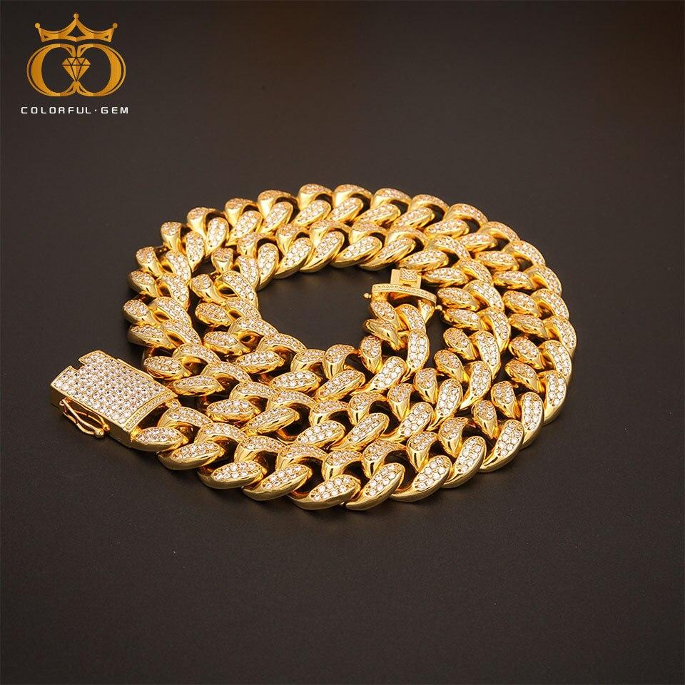Collier en cuivre avec Zircon cubique glacé AAA 20mm lourd Miami chaîne à maillons cubains Hiphop couleur or bijoux de mode pour hommes