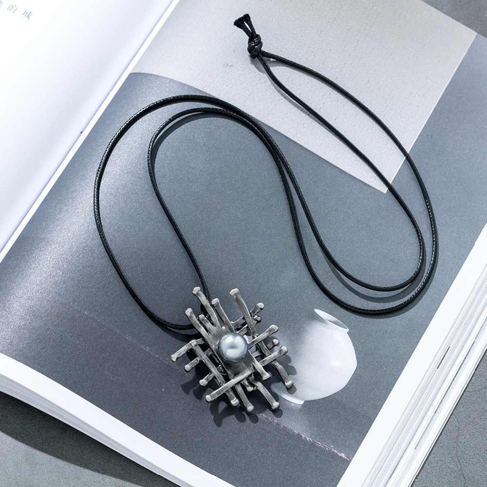 תליון שרשרת תכשיטי לנשים השעיה קולר אופנה ארוך צוואר שרשרת שרשראות האהבה מתנה שחור חבל בציר גותי