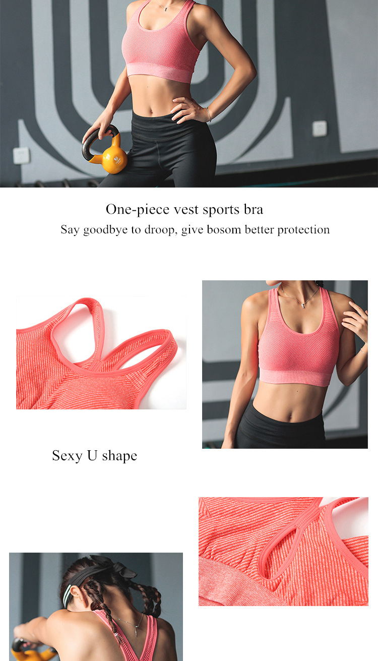 51a6a6cd9f 2019 Women Sexy Open Back Sports Bra High Impact Shockproof Fitness ...