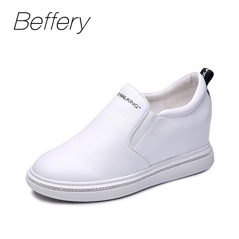 Beffery Genuine Leather Sneakers Women Fashion 2018 Autumn Flat Platform Shoes for Women Slip-On White casual female shoes beffery 2018 new fashion sneakers women genuine leather lace up flat platform shoes for women fashion star casual shoes a1md701