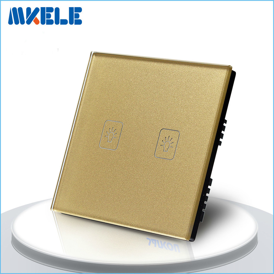 UK Standard Touch Switch Gold 2 Gang 1 Way Light Switch Touch Screen wall switch wall socket for lamp suck uk