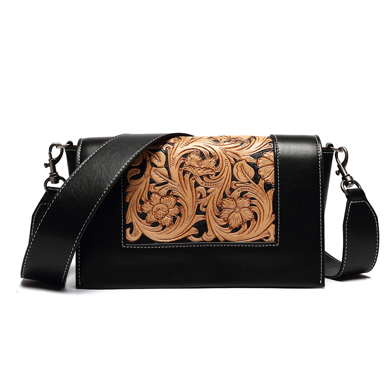 handmade carved Italian vegetable tanned leather casual crossbody flower handbags for women hand carved italian vegetable tanned cowhide fashion leather bags handbags women