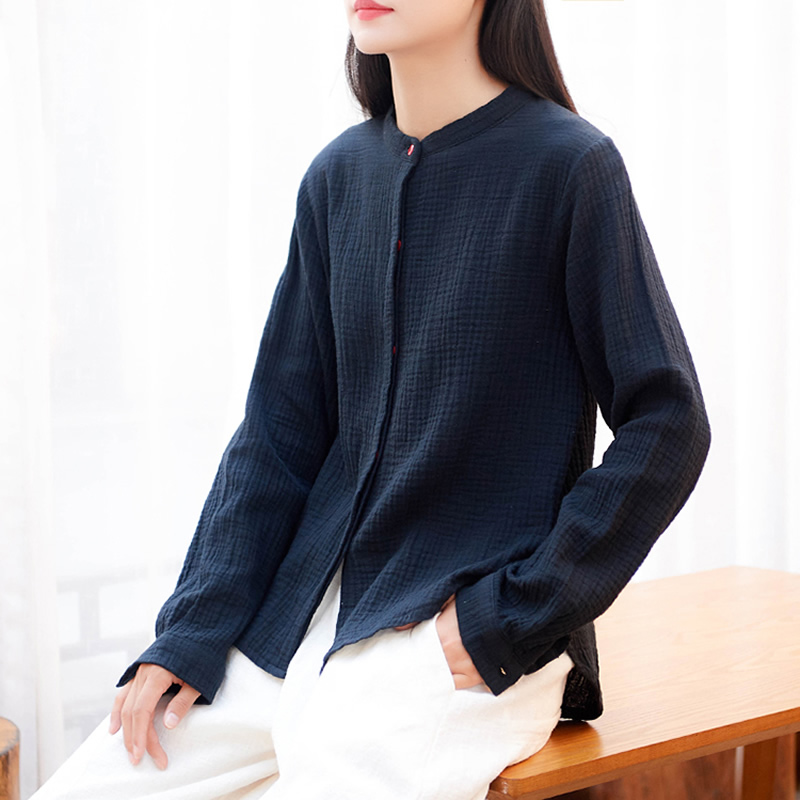 ORIGOODS Chinese style Cotton   Blouse   Women Vintage Long sleeve   Blouse     Shirt   Women Fall 2018 New Casual   Blouse     Shirt   Tops B227