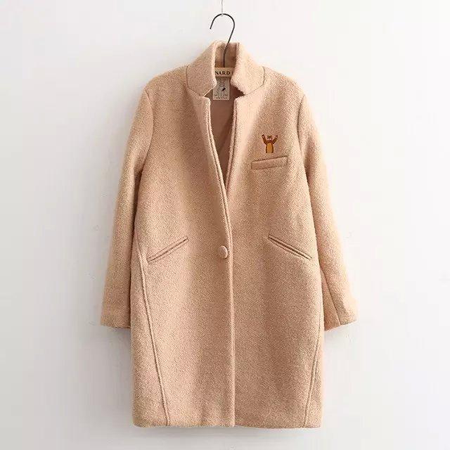 New woolen women coat embroidery retro art lovely windbreaker jacket autumn winter oversize pastel korean harajuku