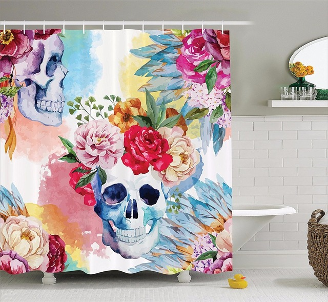 colorful shower curtains. High Quality Arts Shower Curtains Colorful Flowers Skull Skeleton Watercolor Bathroom Decorative Modern