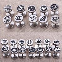 Free shipping wholesale bulk mix 40 styles logo picture fake earrings men fake earrings body piercing jewelry