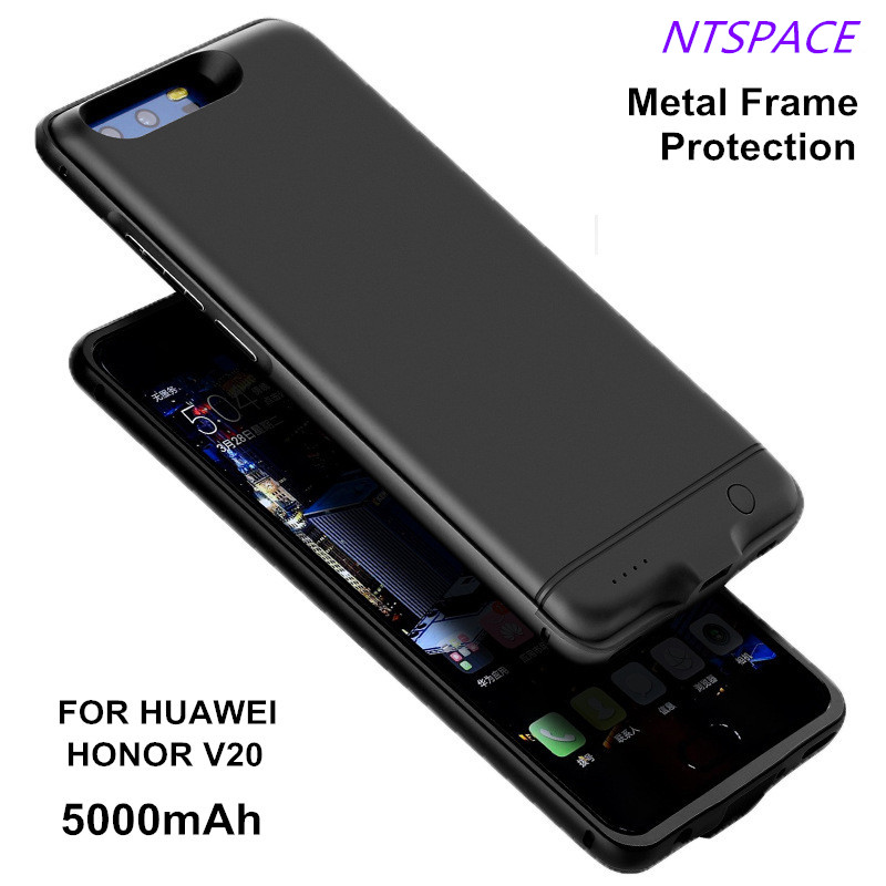5000mAh Portable Battery Case For Huawei Honor V20 Metal Frame Anti-drop Backup Power Bank Extended Phone