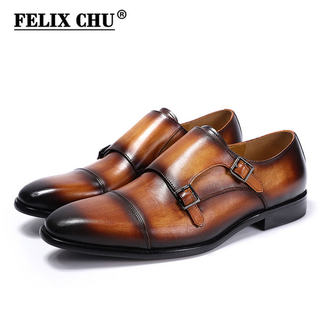 2019 Classic European Style Handmade Mens Monk Strap Dress Shoes Genuine Leather Blue Brown Cap Toe Formal Footwear for Male