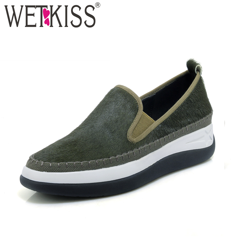 WETKISS 2018 New Arrival Platform Shoes Horsehair Women Flats Slip On Square Toe Patchwork Footwear Spring Fashion Ladies Shoes odetina 2017 new designer lace up ballerina flats fashion women spring pointed toe shoes ladies cross straps soft flats non slip