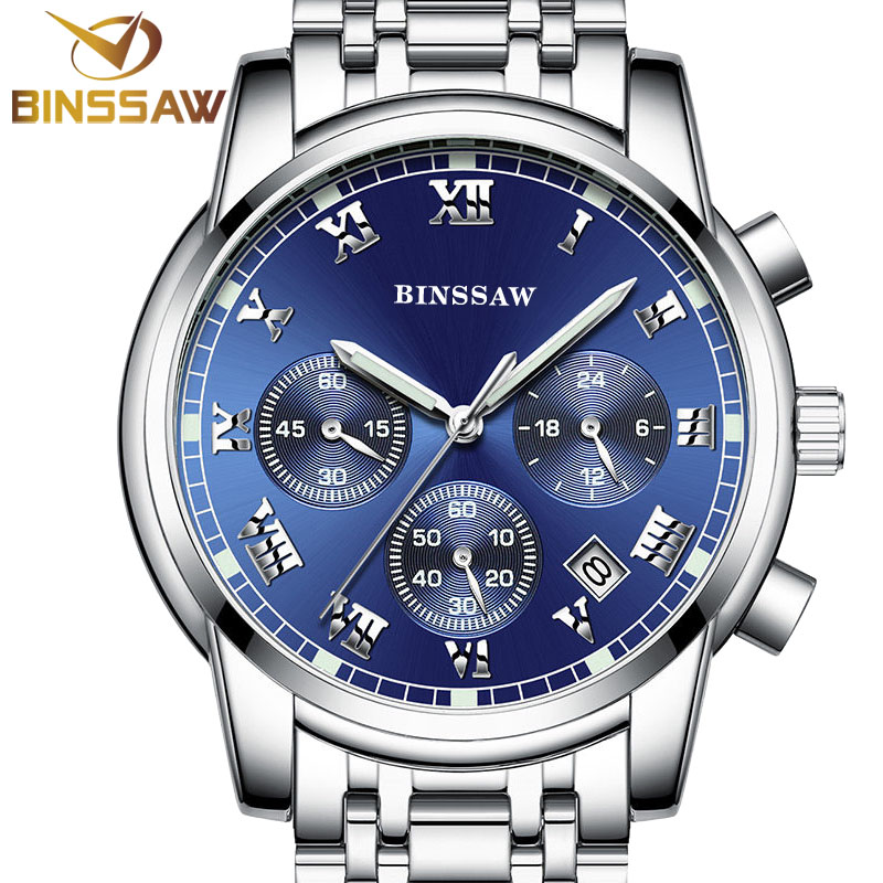 BINSSAW new 2016 men quartz stainless steel fashion Sports watch luminous calendar watch original luxury brand