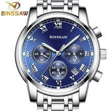 BINSSAW nouveau 2016 hommes quartz en acier inoxydable de mode montre De Sport lumineuse calendrier montre d'origine marque de luxe relogio masculino