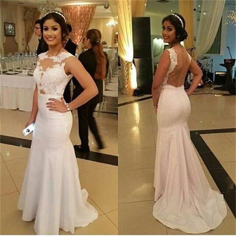 Long Mermaid font b Wedding b font font b Dress b font 2017 Illusions Bridal Party