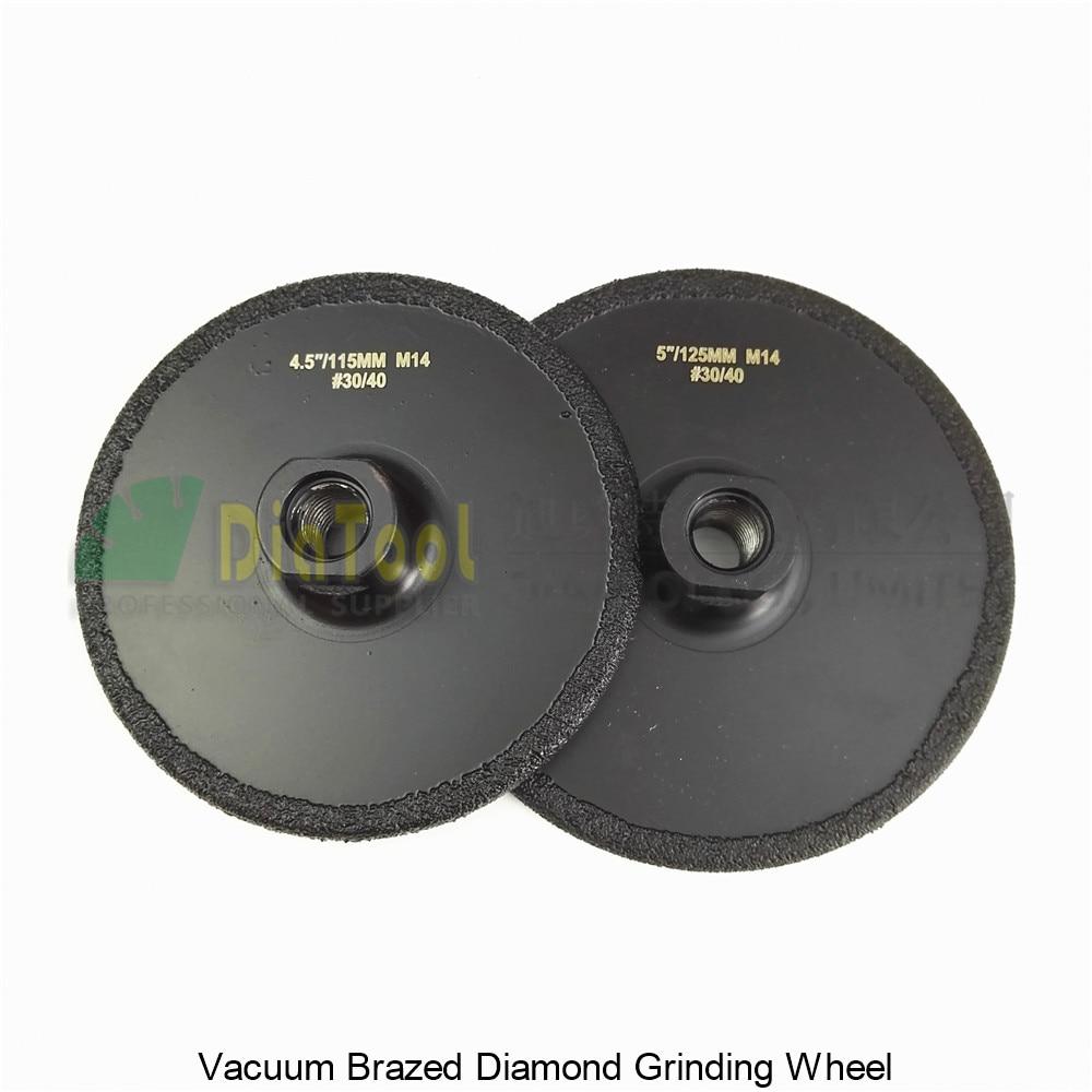 DIATOOL 2pcs (115MM+125MM) Vacuum Brazed Diamond Grinding Wheel M14 Grit #30/40 Flat Grinder Disc Cutting Available diatool 2pcs 105mm 115mm vacuum brazed diamond flat grinding wheel m14 grit 30 coated grinder disc